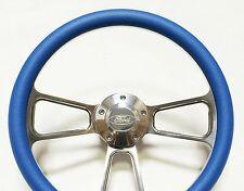 Ford Bronco Steering Wheel - Billet & Sky Blue Wrap, Horn & Billet Adapter