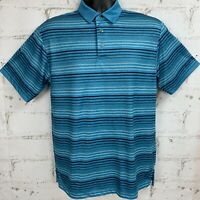 Ben Hogan Men's Golf Polo Shirt Blue Stripes Short Sleeves Size Medium