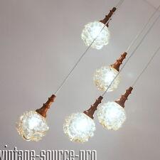 5er Bubbel Glas Nussbaum Kaskade Decken Lampe Pendel Leuchte Amber Color 60er J.