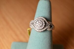 0.50ct Natural Diamond Art Deco Cluster Ring Platinum over Sterling Silver Sz 7