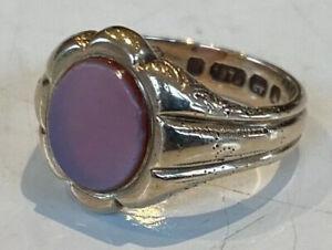 GOOD Men's Gents Antique 9Ct Gold Signet Ring - Red Carnelian dates c1872  Bgham