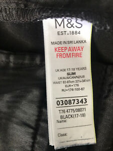 M&S Boys Age 17-18 Black-school trousers. Slim. 32.5-34.5 Waist -Used.See Photos
