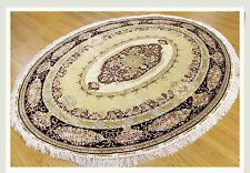 "Carpet 6' X 7' 06"" Silk Unique Oval Kerman Rug Authentic"