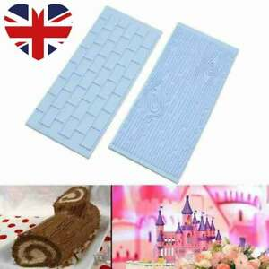 Brick Wall Wood Emboss Embosser Cake Decorating Icing Topper Silicone Mould Mat