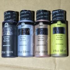 SET of 4 Brushed Metal Acrylic Paint, Folk Art, High Hide, Matte Finish 2oz each