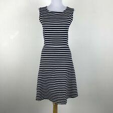 Talbots Sleeveless Navy Blue Striped Fit & Flare Dress Stretch Knit Career Sz L