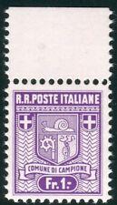 1944 Emissioni Autonome Campione 1 franco varietà MNH ** cert. Cilio