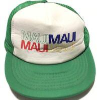 Vintage 80s Maui Hawaii Trucker Hat OSFA Green Mesh Snapback