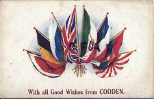 WW1 Militaire Art Patriotique Alliée Drapeaux De vœux à Partir De Cooden Camp