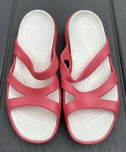 Crocs Women's Slides With Straps Pink/White Size 10