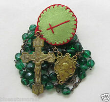 † BLESSED WAX RELIC AGNUS DEI ANTIQUE BRASS CZECHOSLOVAKIAN GREEN GLASS ROSARY †