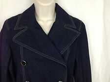 Nine & Co. Size 8 Petite Belted Double Breasted Dark Blue Jean Denim Trench Coat