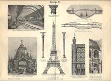 Stampa antica COSTRUZIONI IN FERRO architettura Tav. 2 1890 Old antique print