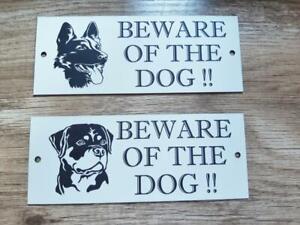 Laser Engraved Beware of the Dog sign with Alsation or Rottweiler image