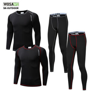 Mens Compression Base Layer Set Thermal Fleece Long Sleeve Top Leggings Pants