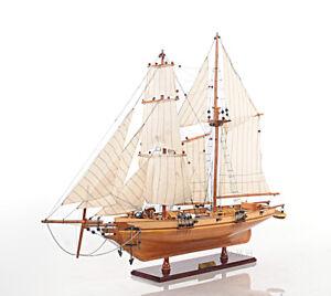 "Harvey 1847 Baltimore Clipper Wood Model Tall Ship 35"" Privateer Built Sailboat"