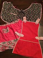 Vintage Aprons Bib & Waist w/ pockets LOT OF 3 1950'S Pink Flowers Red Retro