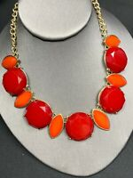 "Bright Red And Orange Lucite  Bohemian Bib Statement Necklace Cluster 16""+"