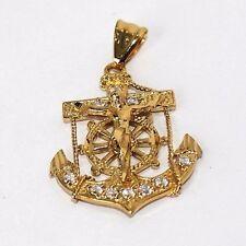 14k Gold plated CZ Anchor Cross Pendant Lifetime Warranty USA made