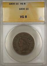 1830 Coronet Head Large Cent 1c Coin ANACS VG-8 (B)