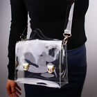 Clear Vinyl Plastic Shoulder Bag Convertible Satchel Detachable Strap Crossbody