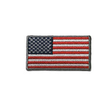"""Embroidered 2"""" American US Flag Silver Border Sew or Iron on Patch Biker Patch"""