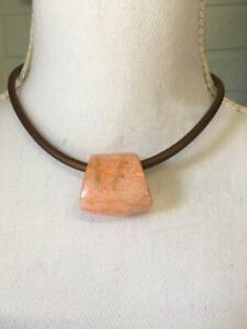 LADIES NECKLACE CHOKER BLACK LEATHER CORD WITH CORAL STONE BACK CLASP