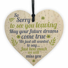 Colleague Leaving Gift Wooden Heart Plaque Goodbye Thank You Friendship Gift