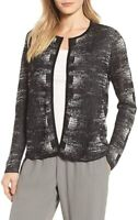 Eileen Fisher Womens Heathered Open Front Cardigan Top Black L NWT $278 Retail