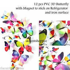 12 Pieces PVC Butterfly Wall Stickers with Magnet, for Walls and Refrigerator.