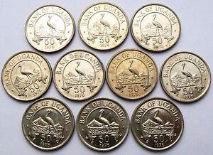 10 X UGANDA 50 CENTS 1976 - BIRD  CRANE MAGNETIC KM4a AU-UNC 10 COINS WHOLESALE
