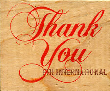 """Thank You ~ All Night Media Wood Mount Rubber Stamp #549E 1.5"""" x 1.75"""" Text, New"""