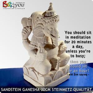 TOP Neu Ganesha Figur aus Stein Sandstein 30cm HANDARBEIT Buddha aus BALI
