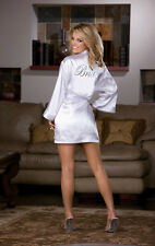 Robe,Babydoll & Padded Hanger Black Womens Intimates Sleepwear WHITE LARGE