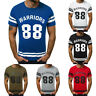 Fashion Men's T Shirt Muscle Slim Letter Printed Short Sleeve Top Blouse HY