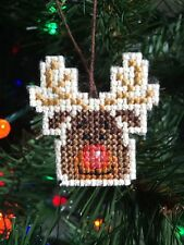 New Handmade Cross Stitch Christmas Ornament-Mini Rudolph Reindeer-Completed