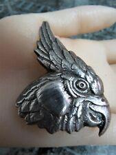 Brooch / Pin. ref xaed Large, Solid Silver Cockatiel / Parrot
