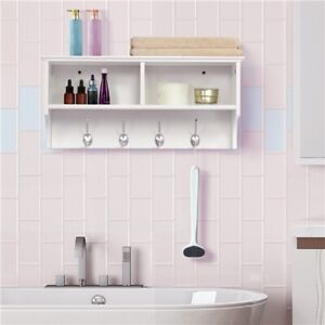 Coat Hook Wall-mounted Coat Clothes Shelf Rack With 2 Open Storages 4 Hooks