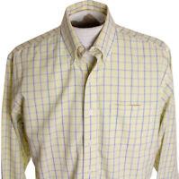 Brooks Brothers SUPIMA Mens M Medium Yellow Check Non Iron LS Button Down Shirt