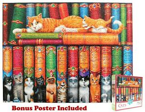 Randal Spangler Library of Cats 750 Piece Jigsaw Puzzle w/Bonus Poster COMPLETE