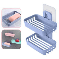 Adhesive Plate Holder Double layer Storage Rack Soap Dishes Box Tray Case