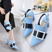 Women's Ladies Block Mid Heels Pointy Toe Slingback Shoes SIZE 2-7 Ankle Straps