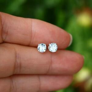 Natural Faceted Aquamarine 925 Sterling Silver 5mm Round Stud Earrings