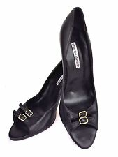 Charles David Black Soft  Leather Open Toe Heel Classy Shoes Sz 10 M