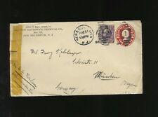 1914 Envelope Mailed via SS Nordam - Holland America Line