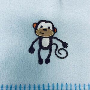 Garanimals Baby Blanket Blue w/ Brown Monkey Standing Stitch Edge Trim Fleece