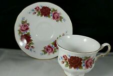 Queen Anne English Bone China Teacup and Saucer Blood Red Roses
