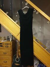 JAEGAR BLACK SILK VELVET LONG MAXI EVENING DRESS SIZE 10-12