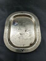 """Collectible Vintage Plated Tin Great Britain England Coin Tray Platter 5.25"""""""