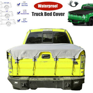 Truck Bed Tarp Cover 600D Oxford Fabric Pickup Truck Bed Cover with Bungee Cords